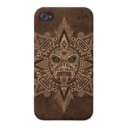 Aztec Sun Mask with Stone Effect Covers For iPhone 4