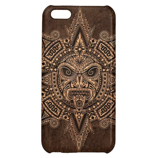 Aztec Sun Mask with Stone Effect iPhone 5C Covers