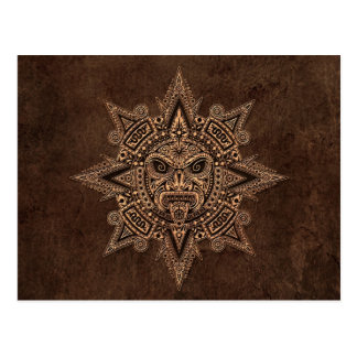 Aztec Sun Mask with Stone Effect Postcard
