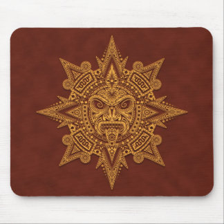 Aztec Sun Mask (yellow & red) Mouse Pad