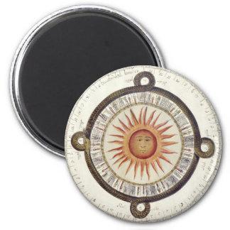 Aztec Sun Stone 2 Inch Round Magnet