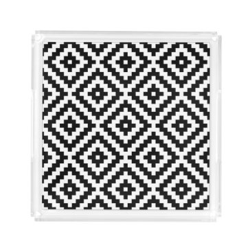 Aztec Themed Aztec Symbol Block Big Ptn Black & White I Acrylic Tray