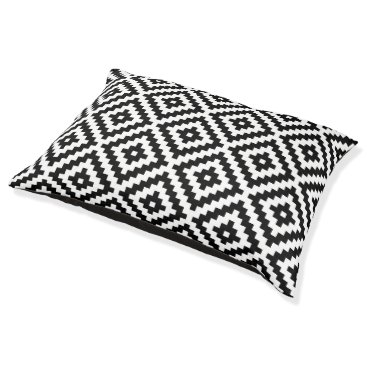 Aztec Themed Aztec Symbol Block Big Ptn Black & White I Pet Bed
