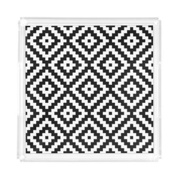 Aztec Themed Aztec Symbol Block Big Ptn Black & White II Acrylic Tray