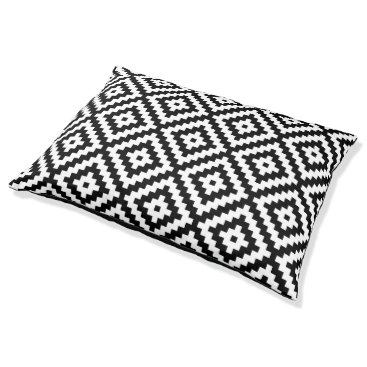 Aztec Themed Aztec Symbol Block Big Ptn Black & White II Pet Bed