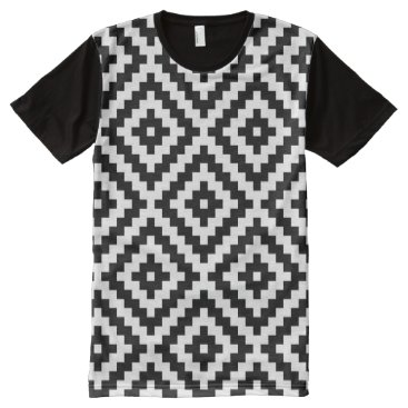 Aztec Themed Aztec Symbol Block Lg Ptn Black & White All-Over-Print T-Shirt