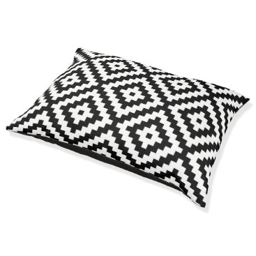 Aztec Themed Aztec Symbol Block Lg Ptn Black & White II Pet Bed