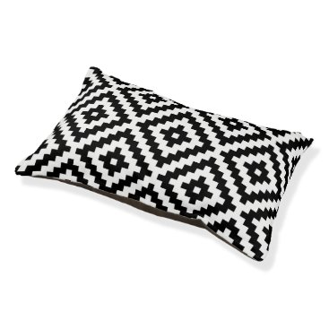 Aztec Themed Aztec Symbol Block Lg Ptn Black & White Pet Bed