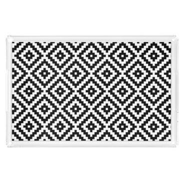 Aztec Themed Aztec Symbol Block Pattern Black & White I Acrylic Tray