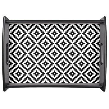 Aztec Themed Aztec Symbol Block Pattern Black & White I Serving Tray