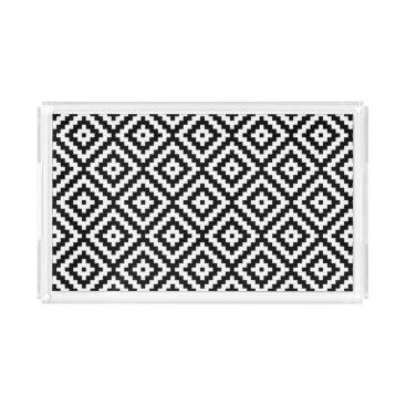 Aztec Themed Aztec Symbol Block Pattern Black & White II Acrylic Tray