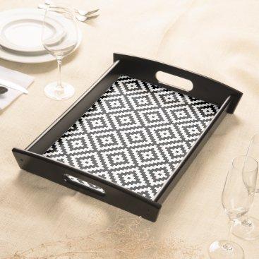 Aztec Themed Aztec Symbol Block Pattern Black & White II Serving Tray