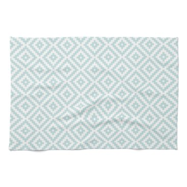 Aztec Themed Aztec Symbol Block Pattern Duck Egg Blue & White I Hand Towel