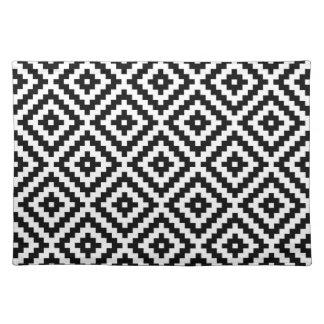 Aztec Symbol Block Ptn Black & White Cloth Placemat