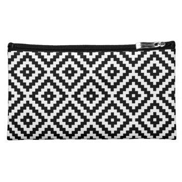 Aztec Themed Aztec Symbol Block Ptn Black & White Cosmetic Bag