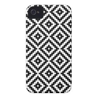Aztec Symbol Block Ptn Black & White I iPhone 4 Case