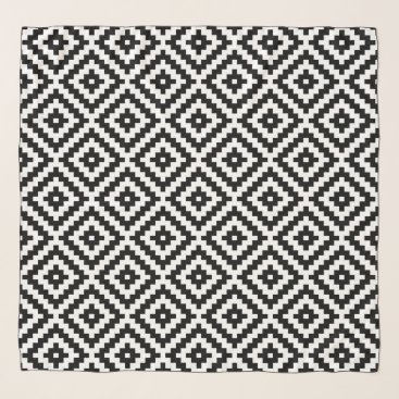 Aztec Themed Aztec Symbol Block Ptn Black & White I Scarf