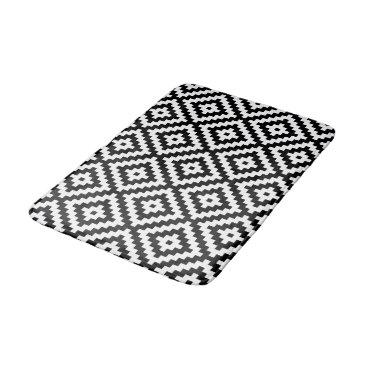 NataliePaskellDesign Aztec Symbol Block Ptn Black & White II Bath Mat