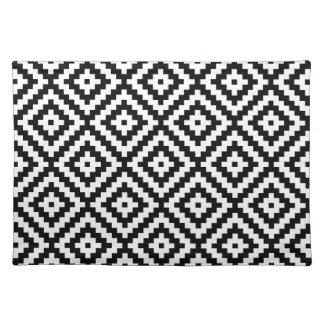 Aztec Symbol Block Ptn Black & White II Cloth Placemat