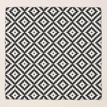 Aztec Themed Aztec Symbol Block Ptn Black & White II Scarf