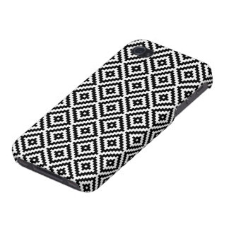 Aztec Symbol Block Rpt Ptn Black & White I iPhone 4 Cover