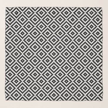 Aztec Themed Aztec Symbol Block Rpt Ptn Black & White I Scarf