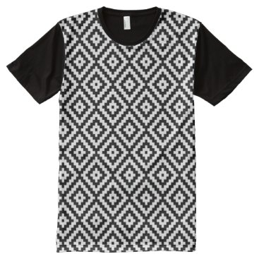 Aztec Themed Aztec Symbol Block Rpt Ptn Black & White II All-Over-Print T-Shirt