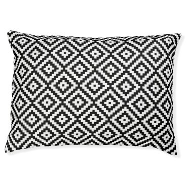 Aztec Themed Aztec Symbol Block Rpt Ptn Black & White II Pet Bed
