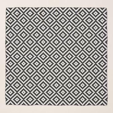Aztec Themed Aztec Symbol Block Rpt Ptn Black & White II Scarf