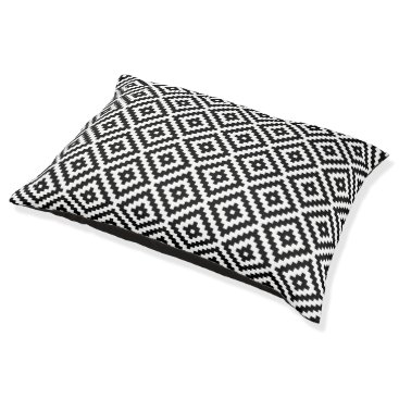 Aztec Themed Aztec Symbol Block Rpt Ptn Black & White Pet Bed