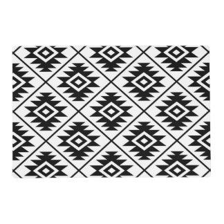 Aztec Symbol Stylized 2Way Big Ptn Black & White Placemat