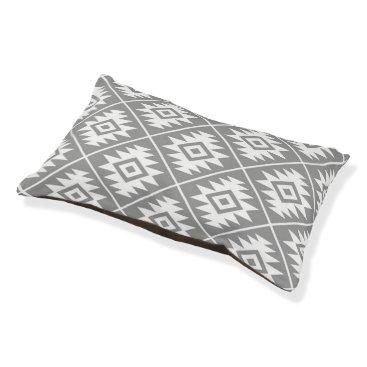 Aztec Themed Aztec Symbol Stylized Big Pattern White on Gray Pet Bed