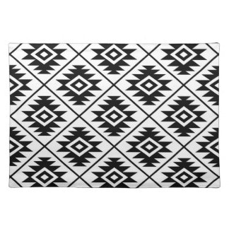Aztec Symbol Stylized Big Ptn Black on White Cloth Placemat