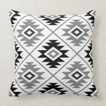 Aztec Symbol Stylized Big Ptn Black White Gray Throw Pillow