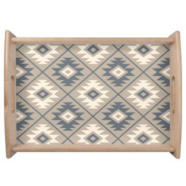 Aztec Themed Aztec Symbol Stylized Big Ptn Blue Cream Sand Serving Tray