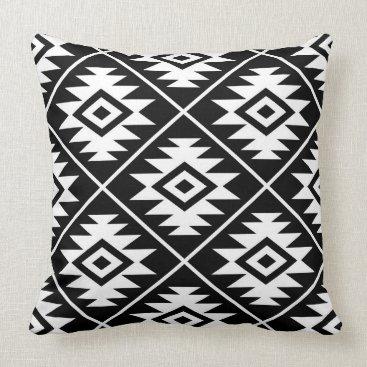 NataliePaskellDesign Aztec Symbol Stylized Big Ptn White on Black Throw Pillow