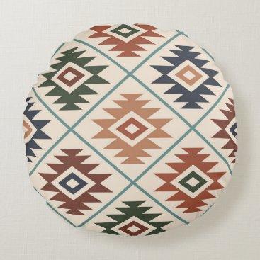 Aztec Symbol Stylized Lg Pattern Color Mix Round Pillow