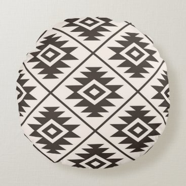 Aztec Symbol Stylized Lg Ptn Brown on Cream Round Pillow