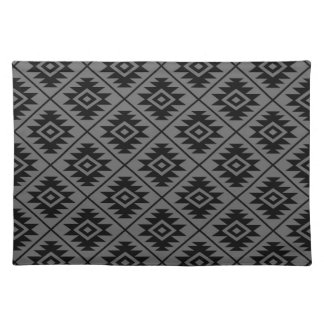 Aztec Symbol Stylized Pattern Black on Gray Cloth Placemat