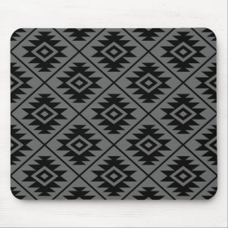 Aztec Symbol Stylized Pattern Black on Gray Mouse Pad