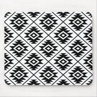 Aztec Symbol Stylized Pattern Black on White Mouse Pad