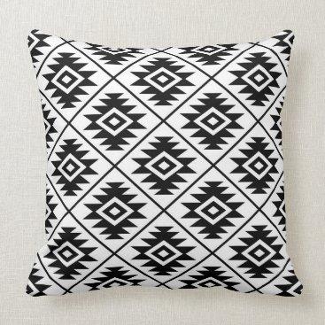 NataliePaskellDesign Aztec Symbol Stylized Pattern Black on White Throw Pillow