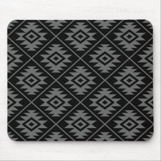 Aztec Symbol Stylized Pattern Gray on Black Mouse Pad