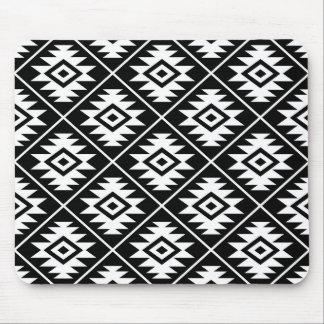 Aztec Symbol Stylized Pattern White on Black Mouse Pad