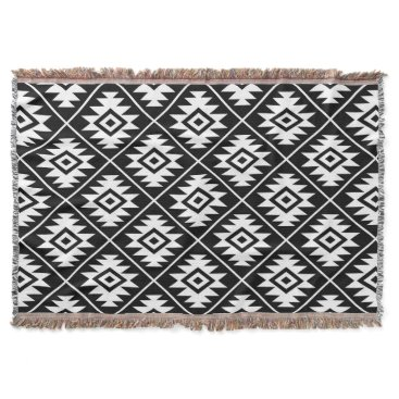 Aztec Symbol Stylized Pattern White on Black Throw Blanket