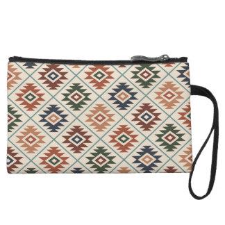 Aztec Symbol Stylized Rpt Pattern Color Mix Wristlet Wallet