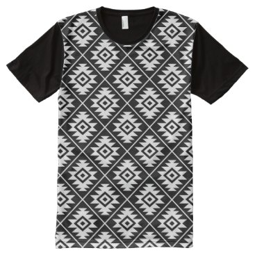 Aztec Themed Aztec Symbol Stylized Rpt Pattern White on Black All-Over-Print Shirt