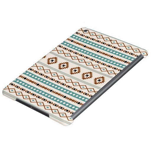 Aztec Teal Terracotta Black Cream Mixed Pattern Case For iPad Air