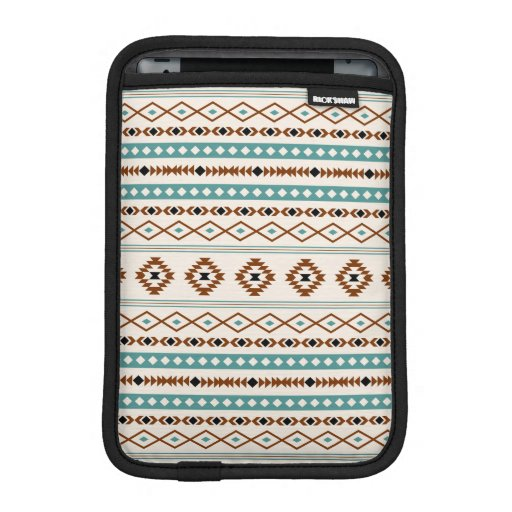 Aztec Teal Terracotta Black Cream Mixed Pattern iPad Mini Sleeve