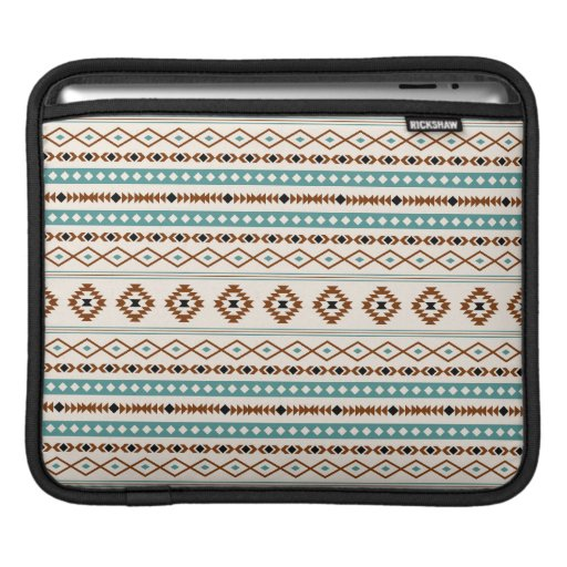 Aztec Teal Terracotta Black Cream Mixed Pattern iPad Sleeve